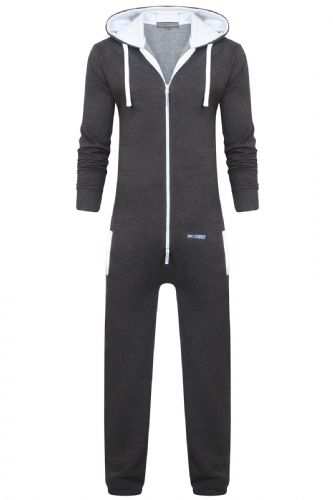 Men's Unisex Charcoal Brushed Fleece Zip Up Playsuit Jumpsuit All In One Hooded Onesie